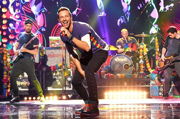Chris Martin performs on stage with his Grammy award winning band Coldplay. Martin recently released his a hit song along with The Chainsmokers entitled
