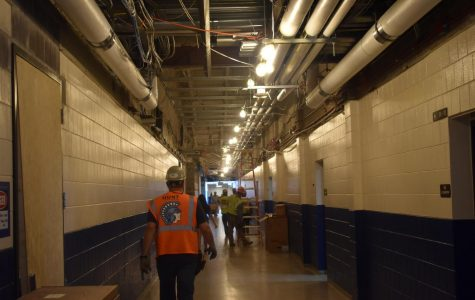 Construction workers were captured in action in the B hallway on September 21st.