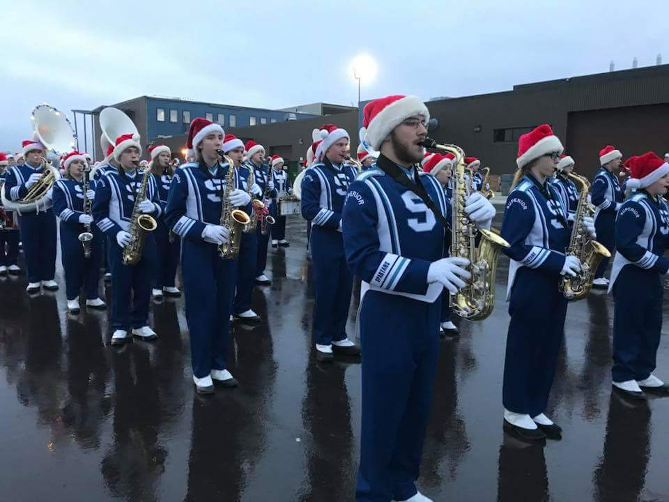 Band+students+lined+up+performing+in+the+Christmas+City+of+the+North+Parade+on+Nov.+17.