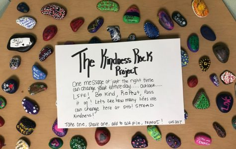 Kindness rocks displayed in Rm. 139 on Sep. 30. The rocks have been distributed throughout the school as an act of kindness.