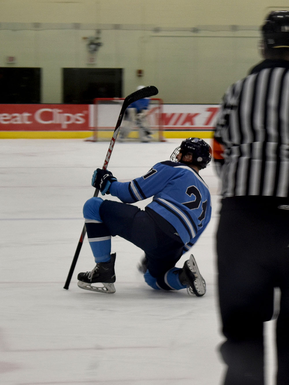 Junior Trevor Dalbec celebrates after his goal at 14:41 in the second period on Feb. 20 at Wessman Arena. Superior beat New Richmond 4-3 in double overtime and will move on to play Hudson in the section final game.