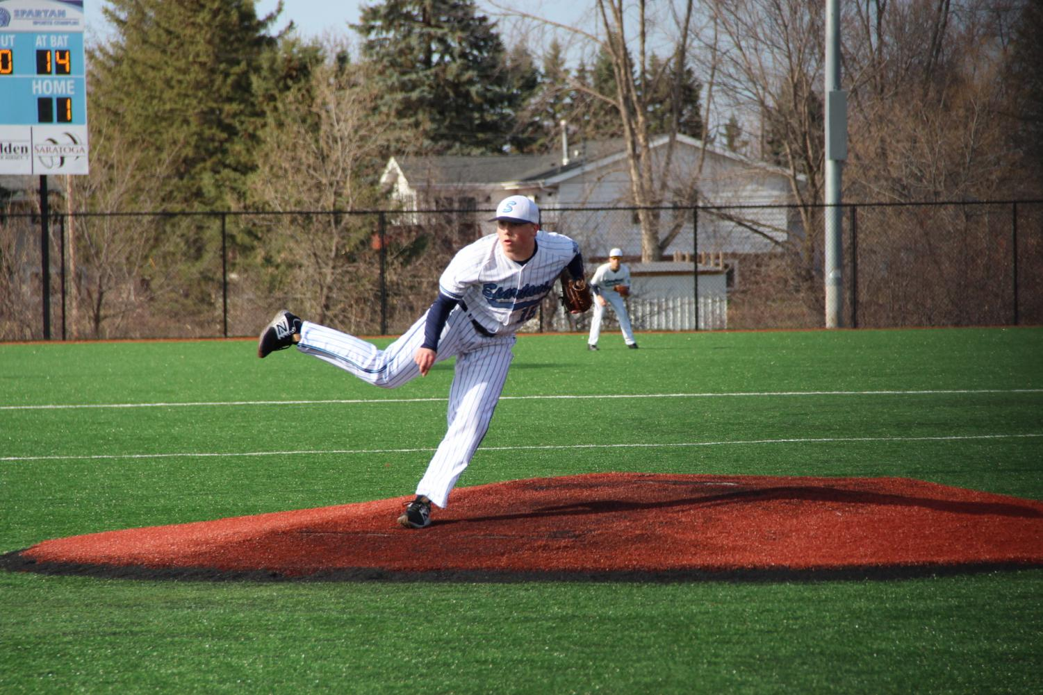Senior Brandon Wing pitches on Thursday May 3 against the Marshall Hilltoppers at the NBC Sports Complex.