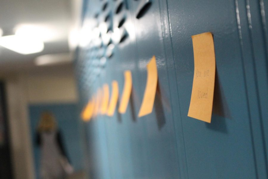 Notes+posted+on+lockers+during+B-Lunch+on+May+7.