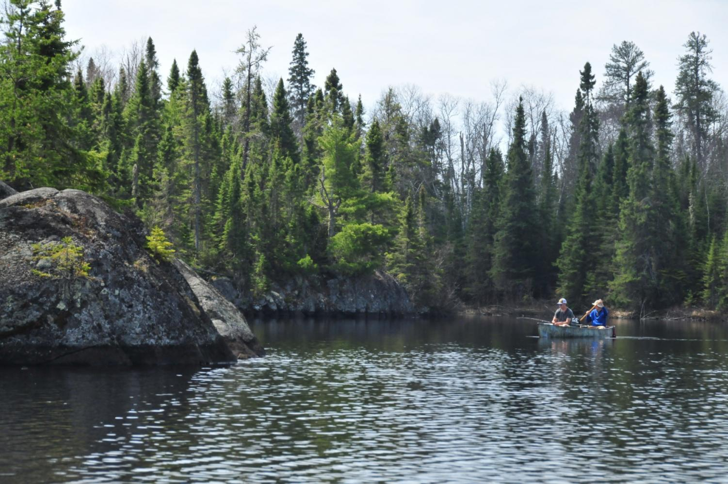 Seniors Sam Oosten and Cam Borgh fish for walleye on Flame lake in the Boundary Waters Canoe Area.