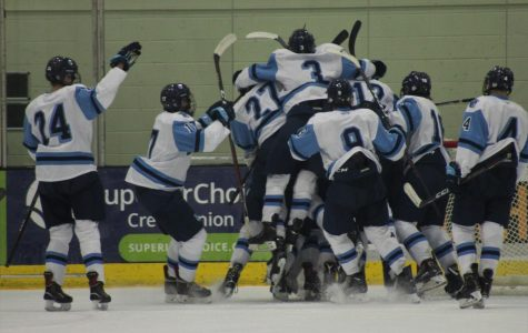 Spartan Boys Hockey team jumping to joy after tremendous victory over defending state champion Hudson Raiders, as Paige Hansen capture her favorite photo on Dec. 1, at Wessman Arena.