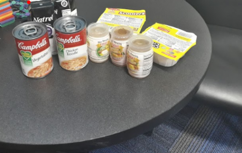 Food displayed by Nicky Wilson, Family Services Program Coordinator, in SHS counselor Wendy Nelson's office before being distributed to students on Dec. 20.