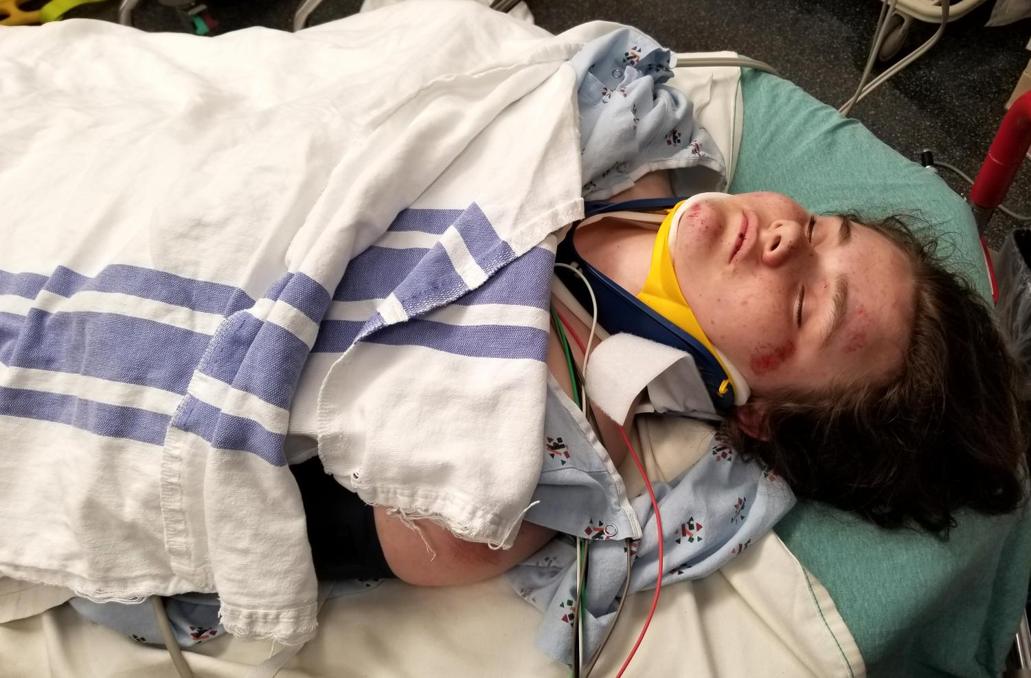Senior Della Simonson in the St. Luke's Emergency room after her accident on May 22, 2018.