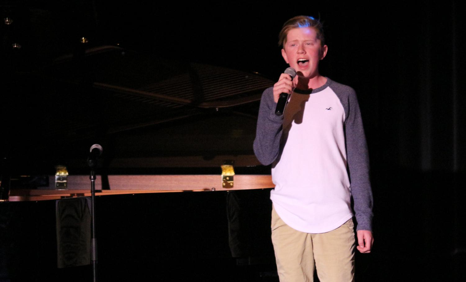 "Freshman Hayden Wilson Sings ""Love Someone"" By Lukas Graham at the talent show on April. 24. Wilson also performed at the grand march ""shallow"" by Lady Gaga on April 13."