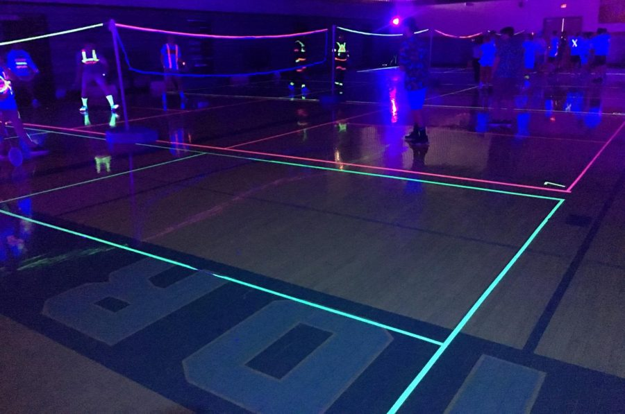 Pledge+Makers+held+a+Black+Light+Badminton+competition+on+the+March+22+in+the+SHS+Spartan+gymnasium.++The+leaders+patterned+this+inaugural+event+after+Black+Light+Volleyball%2C+which+is+held+in+the+fall.