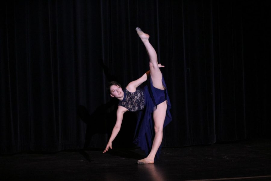 Junior+Ivan+Zambori+does+a+leg+extension+during+their+dance+at+the+Pledgemakers+Got+Talent+show+in+the+Performing+Arts+Center+April+24.+Zambori+tied+for+third+place+with+junior+Ben+Hintzman+and+freshman+Natalie+Sandor.