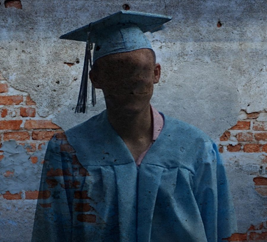 A SHS-graduate with his face blurred symbolizes the faceless hardship of students left behind by their school-system, the drop-out.
