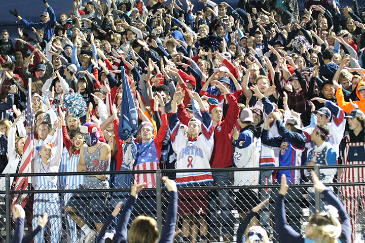 Students do the YMCA in a show of unified school pride at the Homecoming football game at the NBC Spartan Sports Complex Sept. 27.
