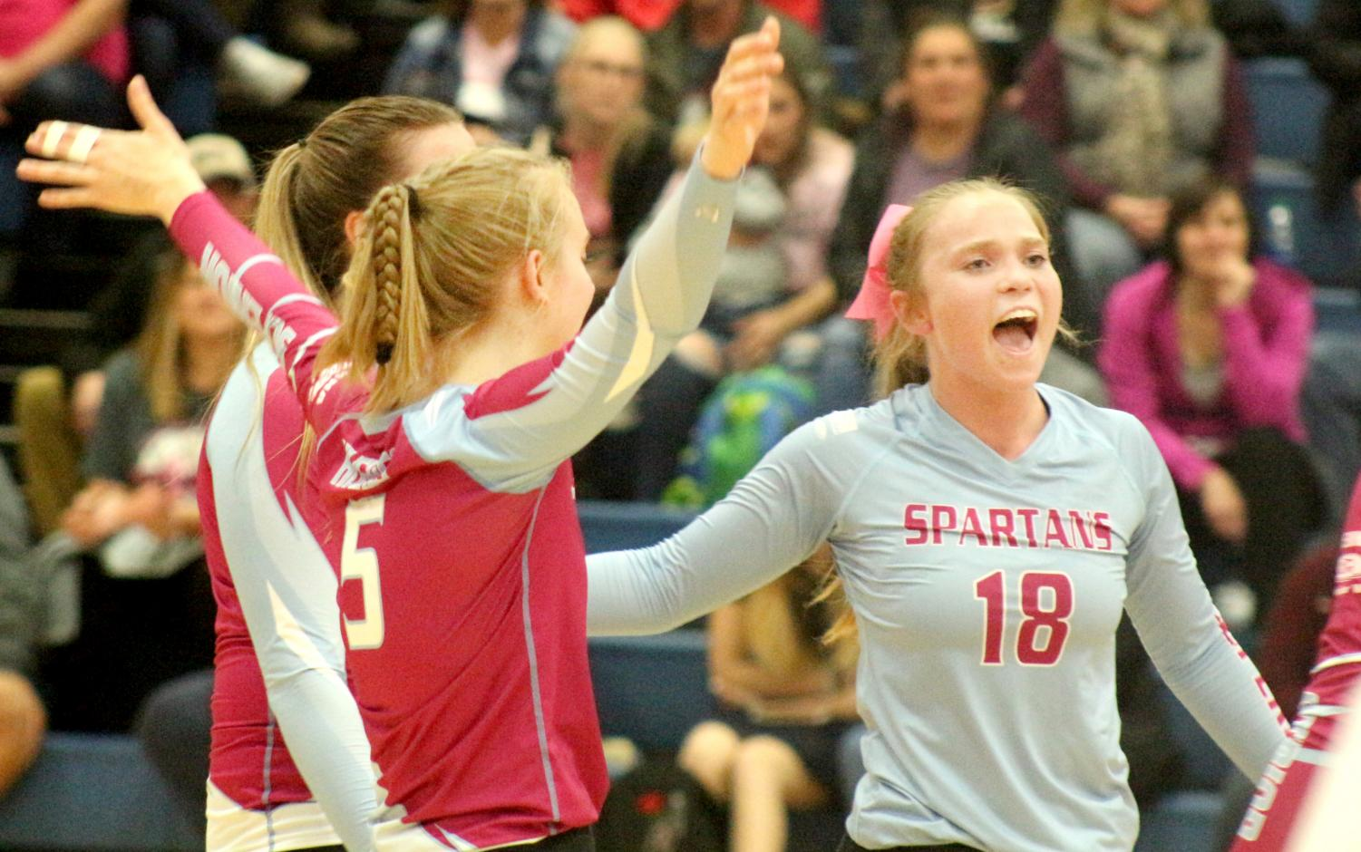Senior Libero Abby Dolsen and senior Jill Hughes celebrate after a point was scored for the Spartans Oct. 15.