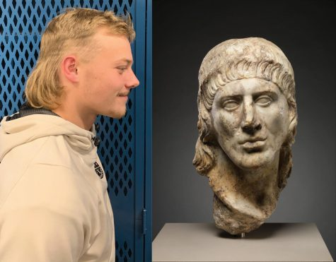 Left: Senior Brennan Morrissey can be seen rockin' a mullet in his daily life. Morrissey is carrying on the fabulous hairstyle all throughout Superior high school. Right: Roman sculpture resting in New York's Metropolitan Museum from the early 2nd Century A.D., depicting an ancient Roman who's cut his hair in what might be the world's first mullet, most likely dedicated to the chariot-riding celebrities of the time who sported the same cut.  When in Rome, do as the Romans 'doo.