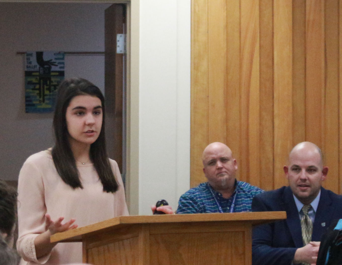 Senior Hannah Dudsic speaks in front of the Superior Board regarding senior project changes on Feb.3. The board office decision is still pending, if approved the changes to the senior projects would be made fr the first time in 15 years.