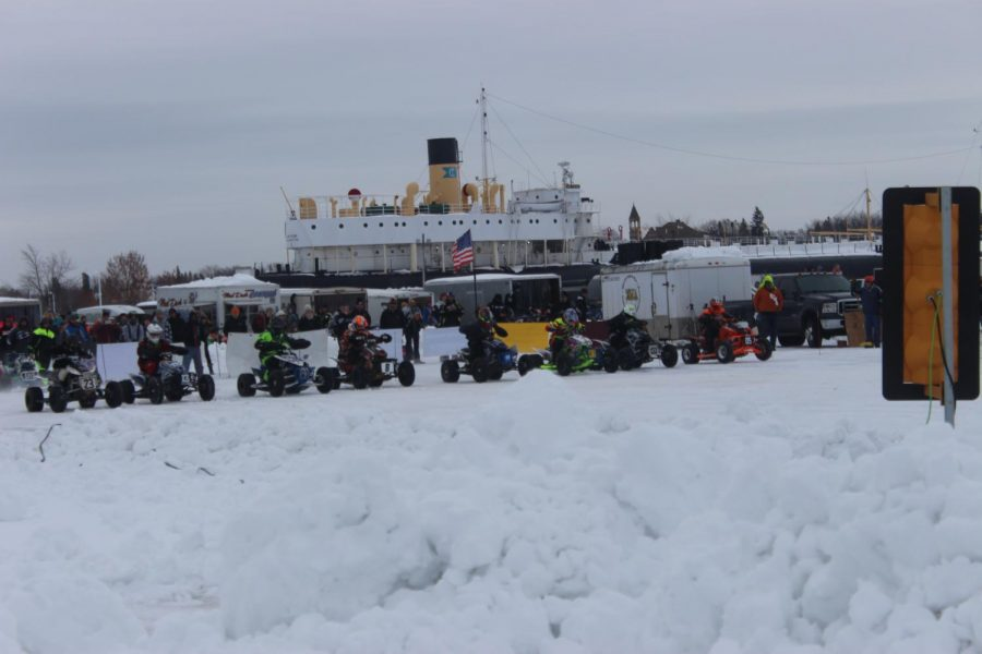 During the Lake Superior Ice Festival, M.I.R.A hosted it's annual King of the Quads Event that saw 18 Four wheel riders compete to determine who the fastest four wheeler Jan. 25 on Lake Superior at Barkers Island. The winner recieved $2500 and a crown that they wore during the awards banquet that they get to defend the follwing year.