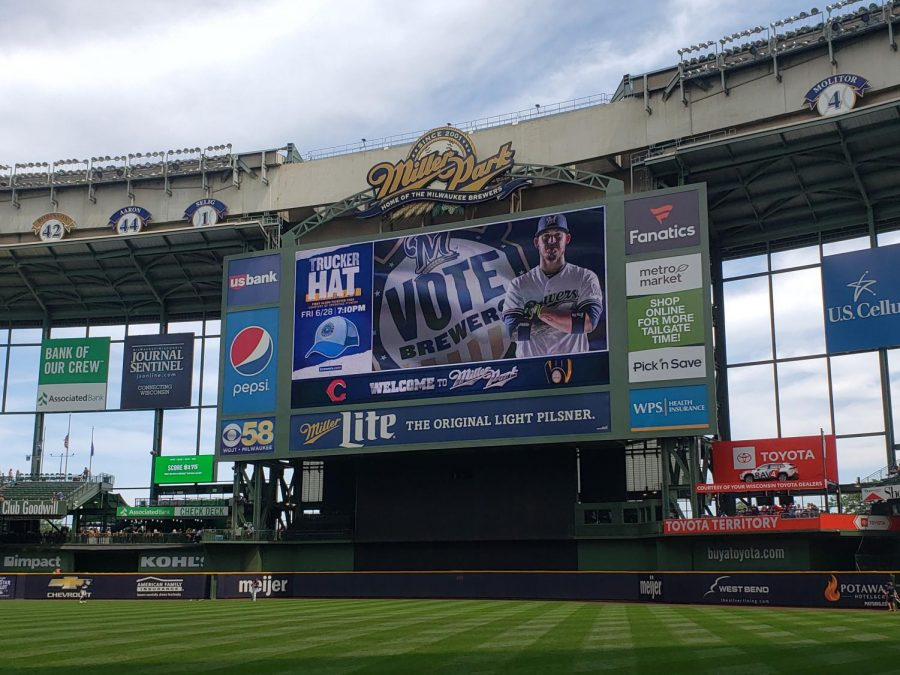 The Milwaukee Brewers stadium Miller Park is empty upon a game against the Cincinnati Reds on Saturday June 22.The 2020 baseball season is on hold due to the current Coronavirus outbreak.