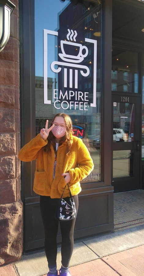 Duluth East student Clare Rhoads is pictured outside of Empire Coffee.