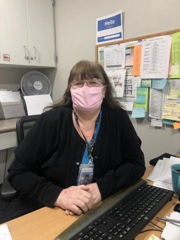 Superior High School Nurse, Lori Kelleher is hard at work on Jan. 26. Kelleher had recently got the vaccine on Jan. 13th.