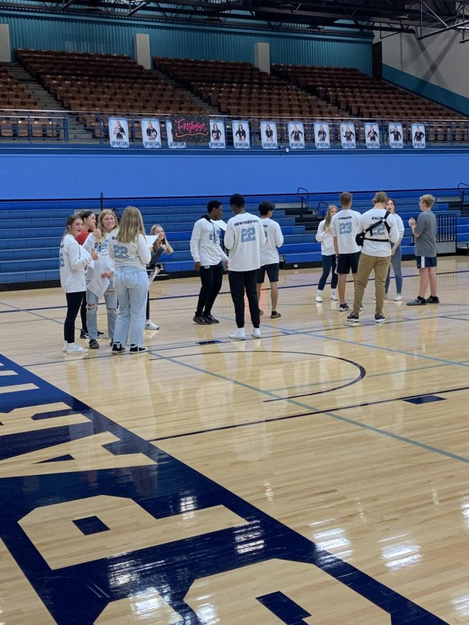 Student Council setting up Pep Rally Sept. 17. Following the Pep Rally is the Homecoming Parade  and the football game versus the Rice Lake Warriors.
