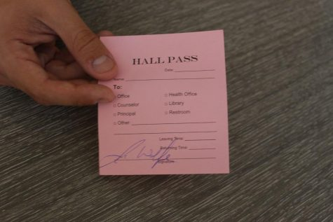 The new hall pass was administered at the beginning of the 2021-22 school year. The new hall pass replaces the old passes that were chosen by the teachers.
